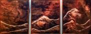Three panel copper artwork of ocean waves by Sooriya Kumar