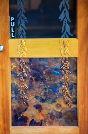 Glass and Copper Cafe Entrance door (detail)
