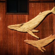 Outdoor Building Art Whales in wood