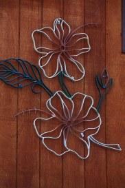 Large Bent Steel Hibiscus Wall Art (detail)