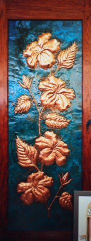 Copper Hibiscus Flower Door