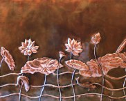 Large Copper Lotus Panel