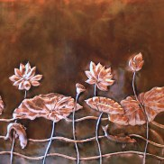 Large Copper Lotus Panel