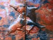 Sooriya Kumar Copper Dolphin Wall Art