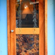 Glass and Copper Cafe Entrance door