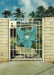 Copper Bird of Paradise Side Entrance Gate
