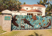 Copper Dolphins and Turtles welcome guests