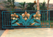 Large Copper Hawaiian Triple Flower Main Gate